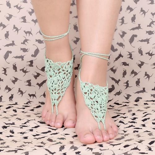 Fio de algodão verde Crochet pé corrente pulseira tornozeleira geométricas praia anel de dedo do pé descalço sandália