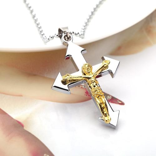 Moda personalizada Jesus Cruz crucifixo pingente colar corrente Vintage retrô Punk homem Womem jóia acessório