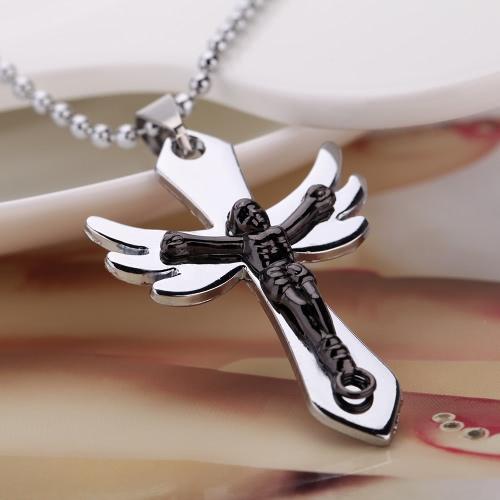 Moda personalizada crucifixo Jesus Cruz asa do anjo pingente colar corrente Vintage retrô Punk homem Womem jóias acessório