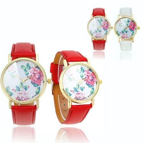 Damas elegantes de cuarzo pulsera reloj Retro peonía flores diseño rojo