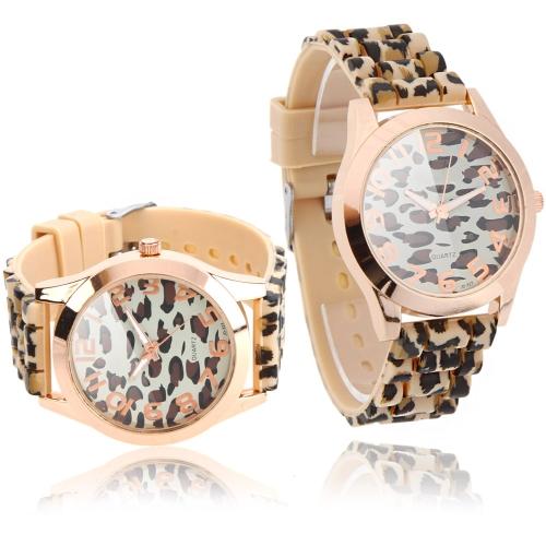 Damas elegantes de cuarzo pulsera reloj leopardo diseño impreso café