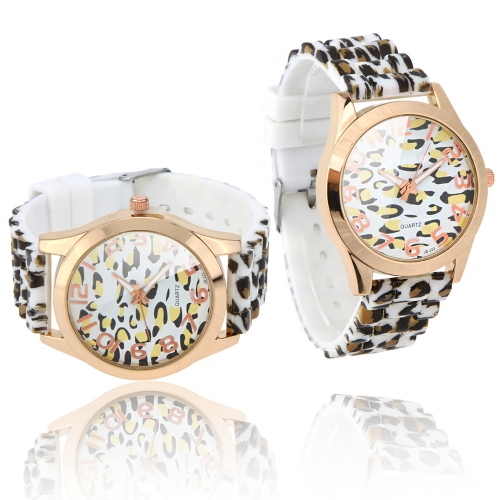 Dames élégantes Quartz Wrist Watch léopard impression Design blanc