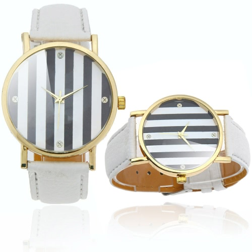 Dames élégantes Quartz Wrist Watch bandes en 2 couleurs Design blanc