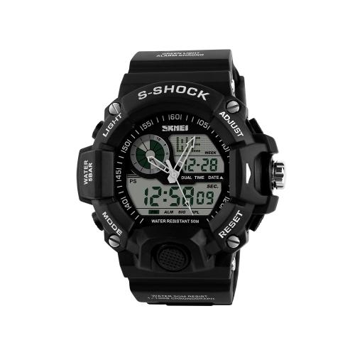 Hombres hora Dual SKMEI multifuncional alta calidad deportes reloj de pulsera agua resistencia reloj electrónico al aire libre