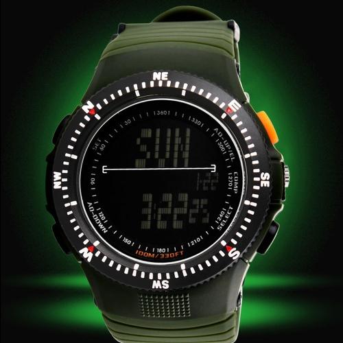 SKMEI multifunción a prueba de agua moda hombres deportes reloj Durable Digital militar reloj de pulsera