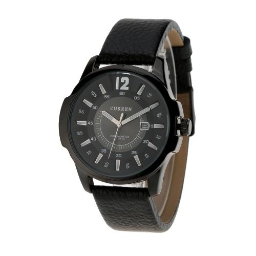 CURREN los hombres moda cuarzo resistente al agua reloj cuero correa Vintage acero inoxidable negocio reloj de pulsera con calendario