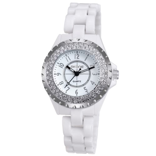 CHICA moda reloj pulsera impermeable cerámica Cool Vintage excelente Rhinestone incrustados delicado reloj de pulsera