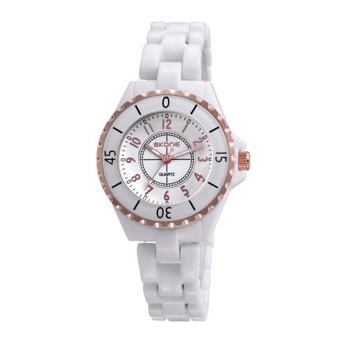 CHICA hermosa elegante cuarzo analógico reloj correa cerámica resistente al agua exacto reloj de pulsera para mujeres