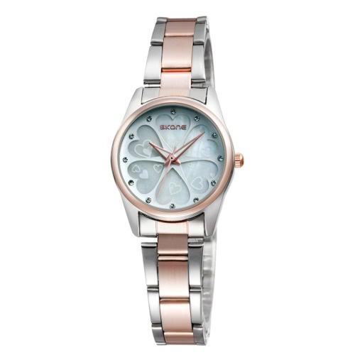 SKONE bonito coração forma flor Dial liga Watchband Rhinestone incorporado impermeável delicado relógio de pulso para mulheres