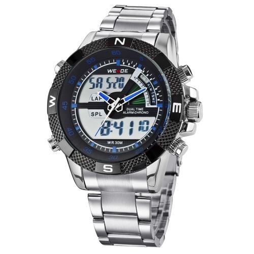 WEIDE Мужчины Двойное время Многофункциональные Аналого-цифровые Военно-спортивные Наручные Часы Водонепроницаемые Часы на воздухе