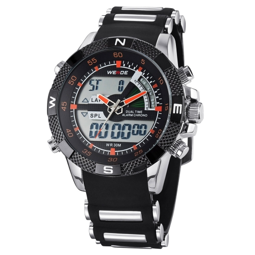 WEIDE Men Dual Time Analog-Digital Watch Soft Silicone Watchband Waterproof High Quality Sport Wristwatch