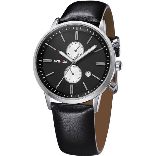 ES resistente al agua acero inoxidable cuero correa cuarzo negocio analógico reloj de pulsera con calendario