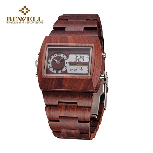 Vintage Dual Time Environmental Wooden Resistant Trendy Luminous Watch for Men