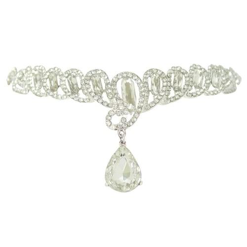 Liga testa jóias Hairband com mulheres strass grande casamento festa Headband da mulher Headpiece pingente