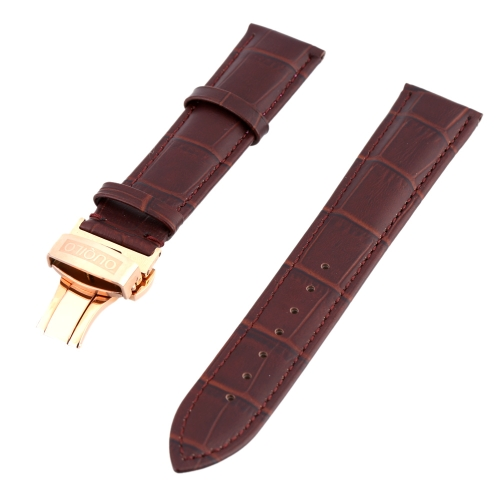 High Quality Genuine Leather Lightweight Watch Strap Waterproof Stylish Watchband with Stainless Steel Butterfly Clasp 20mm