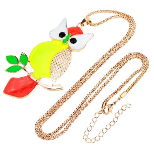 Romacci linda coruja colorida pingente colar corrente colar bijuterias