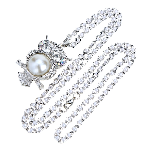 Romacci Shinning perła Pearl Owl Necklace Naszyjnik Biżuteria Naszyjnik Biżuteria