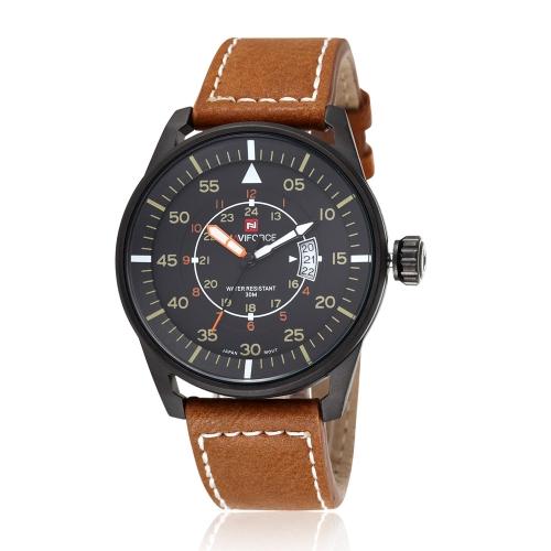 NAVIFORCE PU suave cuero correa reloj fantástico 3ATM resistente al agua estilo hombres reloj de cuarzo con calendario