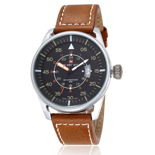 NAVIFORCE weiche PU Leder Strap tolle Armbanduhr 3ATM wasserdicht stilvolle Männer Quarzuhr mit Kalender