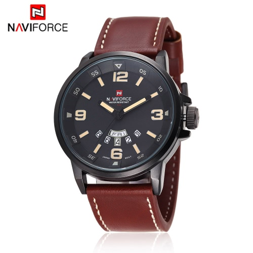 NAVIFORCE Practical 3ATM Water Resistance Quartz Wristwatch PU Leather Strap High Quality Watch with Function of Date Week
