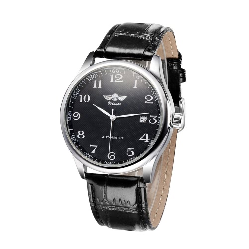 Gewinner einfache Automatik mechanische Automatikuhr bequeme Leder Strap fantastische Unisex Armbanduhr mit Kalender