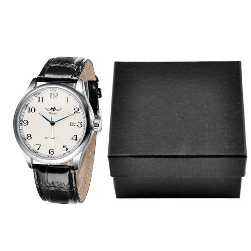 Seconda mano WINNER Orologio meccanico a carica manuale semplice Cinturino in pelle confortevole Fantastico orologio da polso unisex con calendario