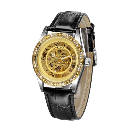 Zwycięzca Przejrzyj Skeleton Automatyczne uzwojenie Automatic Mechaniczne Oglądaj Shining Rhinestone Złoty Unisex Analog Zegarek na rękę