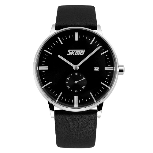 SKMEI Classical Vintage Business Men Wristwatch Leather Watchband Quartz Watch Analog with Calendar
