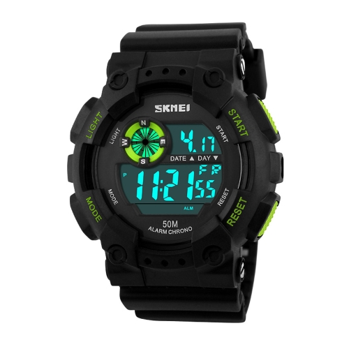 SKMEI alta calidad 5ATM resistente al agua reloj de pulsera moda actividad al aire libre militar Cool reloj deportivo con función de semana Split alarma