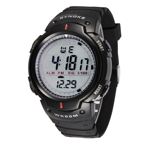 SYNOKE Dial grande 5ATM hombres a prueba de agua deportes reloj multifunción noche luz alarma cronógrafo reloj de estudiante