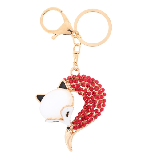 Biżuteria Fashional Hollow Shinning Rhinestone breloczka Fox Key Ring Key Chain
