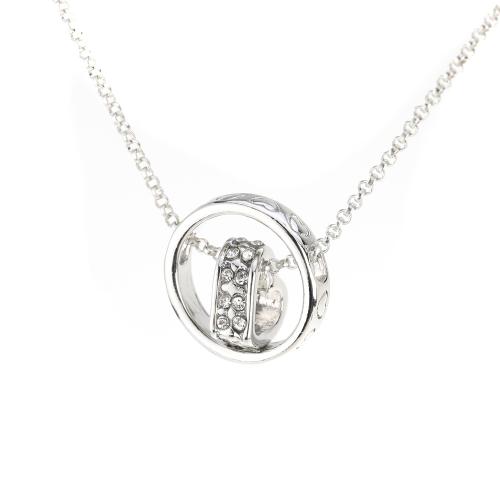 Mujer chica Retro Vintage Rhinestone cristal doble círculo colgante corazón collar cadena joyería