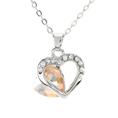 Cheap 10k gold plated girl woman heart ring with glass crystal girl woman heart ring with glass crystal rhinestone pendant necklace chain jewelry for wedding bridal aloadofball Image collections