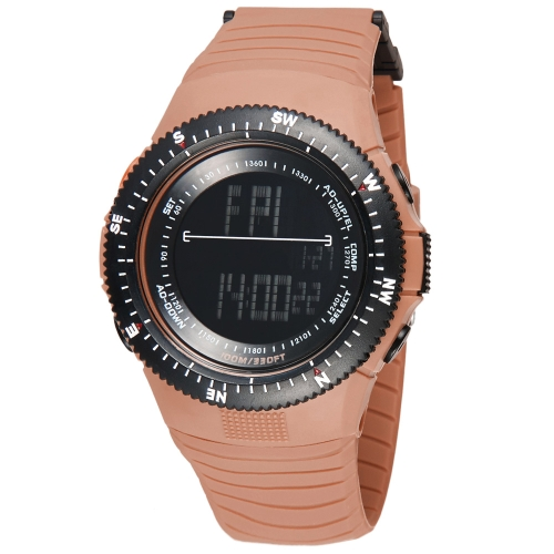 SYNOKE Cool Digital Water Resistant Sports Wristwatch for Men Women Second Timezone Time Display Camel