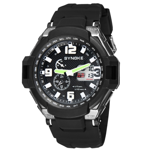 SYNOKE Fashion multifunktionale Digital Analog-Dual-Display Watch wasserdicht im freien Wrist Watch Black