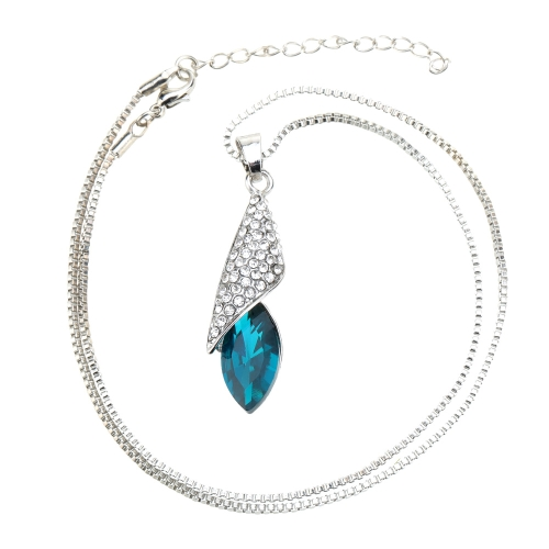 Ojo de caballo ligero de desierto en forma de colgante joyería del Rhinestone collar cadena lujoso bonito para mujer chica