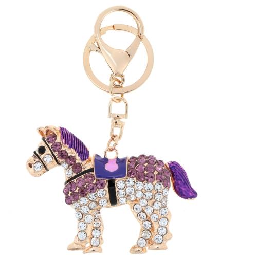 Joyería del fashional hueco Shinning del Rhinestone silente caballo colgante llavero llavero