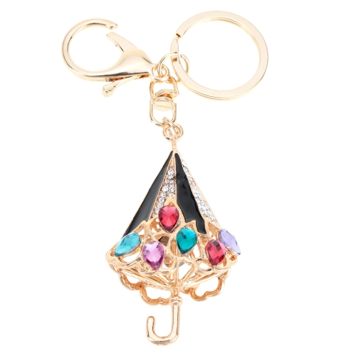 Biżuteria Fashional Hollow Shinning Rhinestone Aureat Umbrella Pendant Key Ring Key Chain
