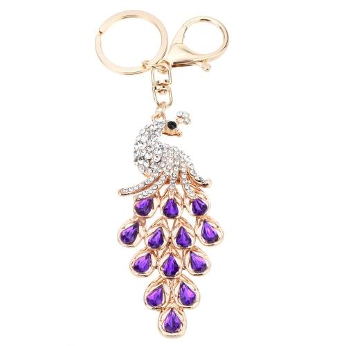 Fashional gioielli Shinning strass aureo pavone ciondolo portachiavi chiave catena vuota