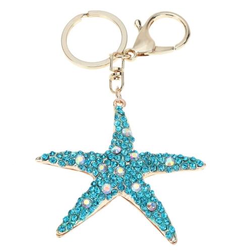 Jóias fashional oco Shinning strass pingente estrela aneis chaveiro chaveiro