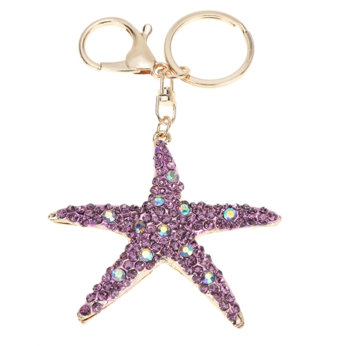 Joyería del fashional hueco Shinning del Rhinestone áurea estrella colgante llavero llavero