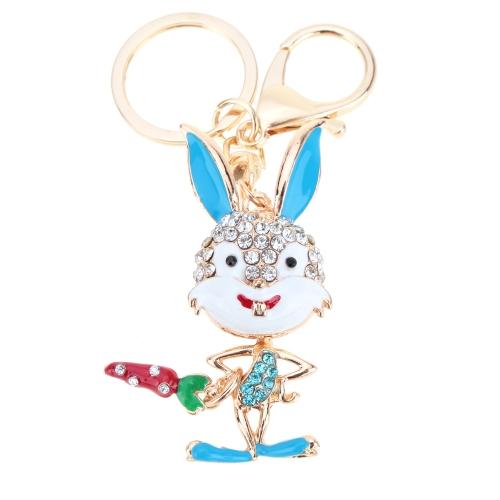 Joyería del fashional hueco Shinning del Rhinestone conejo silente colgante llavero llavero