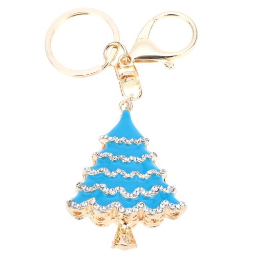 Fashional Schmuck hohlen Shinning Strass Golden Weihnachtsbaum Anhänger Schlüsselanhänger Schlüsselanhänger