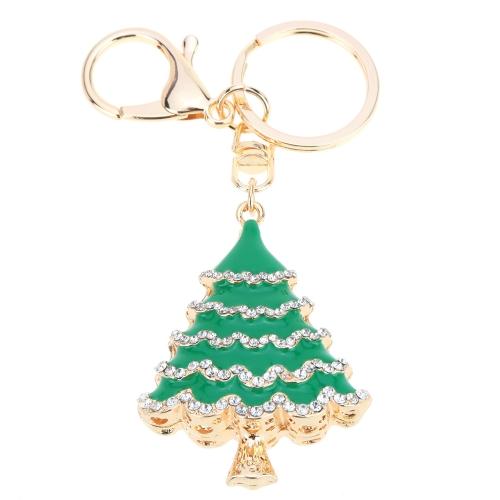 Joyería de moda hueco brillante del estráses dorado árbol de Navidad colgante llavero