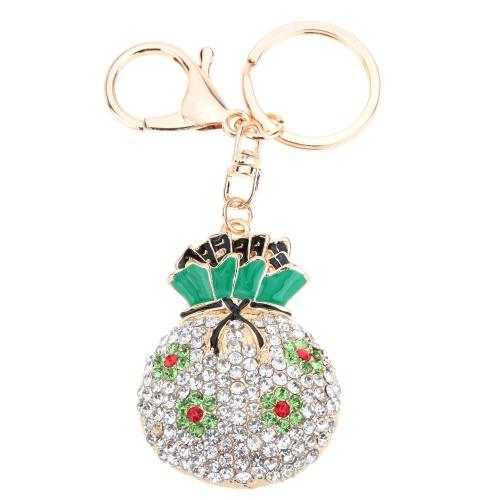 Jóias fashional oco Shinning Rhinestone aneis Bag sorte pingente flor chaveiro chaveiro