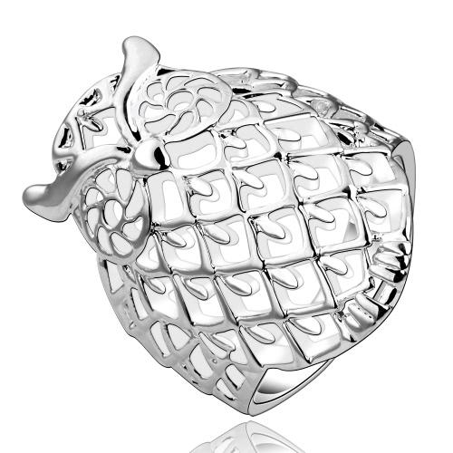 Romacci elegante Tier Modellierung Shinning Silber Eule Finger Ring Schmuck