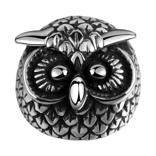 Romacci Animal modelado Retro buho Cool negro joyería del anillo de dedo