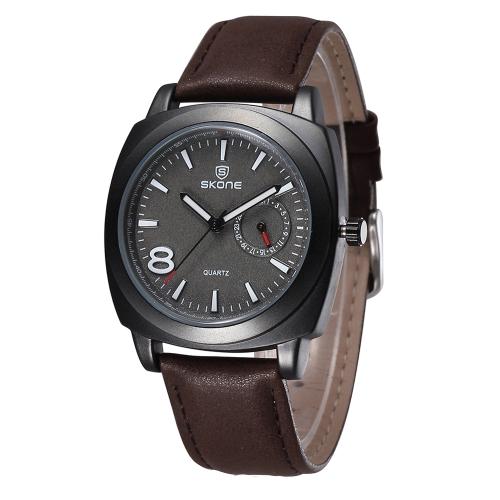 SKONE Classical Vintage Business Men Wristwatch Stainless Steel Quartz Analog Night-light Gentle Men Luxury Watch with Calendar