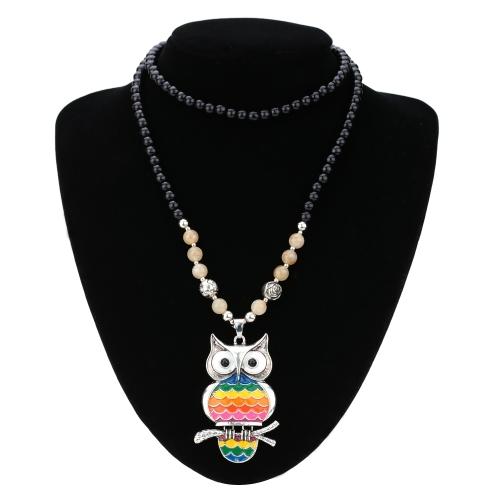 Vintage Retro Nagellack Rainbow Multi Color Eule Anhänger Halskette Perlen Sweater Kette Metall-Legierung Vogel Modeschmuck für Mädchen