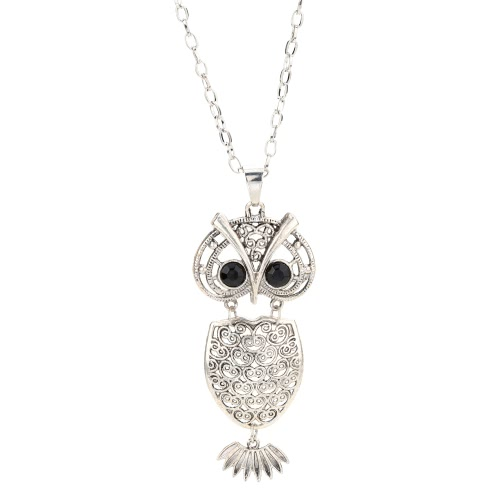 Мода Винтаж ретро черные глаза кристалл Rhinestone Multi слои полых сова кулон ожерелье свитер цепи металлического сплава птицы украшения для девушка женщина